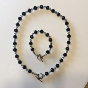 Beaded necklace & bracelet with toggle clasp